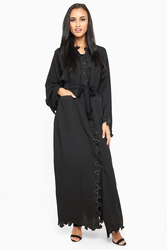 Nukhbaa Wrap Style Belted Abaya with Hijab, Black, Small