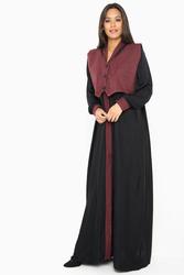 Nukbhaa Waiscoat Style Buttoned Abaya with Hijab, Mediumaroon, 2XL