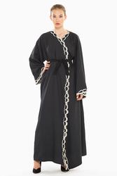 Nukbhaa Striped Embroidered Abaya with Hijab, Navy Blue, Medium