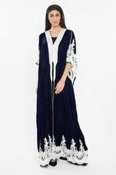 Nukhbaa Velvet Crochet Lace Abaya with Hijab, Navy Blue, XS