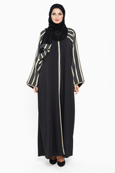 Nukhbaa Striped Abaya with Hijab, Black, 4XL