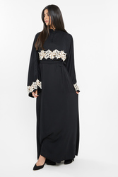 Nukhbaa Floral Crochet Lace Abaya with Hijab, Black, XXS