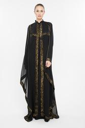 Nukbhaa Chiffon Gold Print Striped Abaya with Hijab, Black, Medium