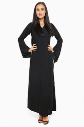 Nukhbaa Embelished Pearls Abaya with Hijab, Black, 3XL