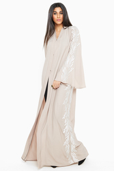 Nukbhaa Silver Leaf Embroidered Abaya with Hijab, Mediumulticolour, Large