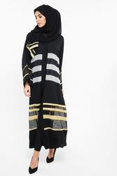 Nukhbaa Net Striped Abaya with Hijab, Black, XXS