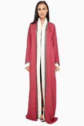 Nukhbaa Open Front Lace Abaya with Hijab, Red, XS