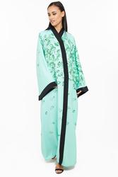 Nukhbaa Floral Print Abaya with Hijab, Green, 3XL
