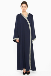 Nukbhaa Wrap Style Lace Abaya with Hijab, Navy Blue, XL