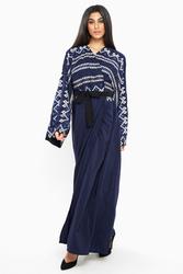 Nukbhaa Wrap Style Wavy Print Abaya with Hijab, Navy Blue, Medium