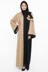 Nukhbaa Print Abaya with Hijab, Mediumulticolour, XS