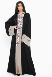 Nukbhaa Floral Embroidered Abaya with Hijab, Black, Medium