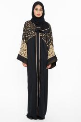 Nukhbaa Floral Net Print Abaya with Hijab, Black, Medium