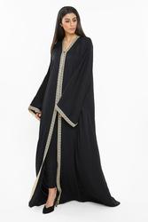 Nukbhaa Striped Aztec Print Abaya with Hijab, Black, XS