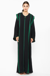 Nukhbaa Striped Abaya with Hijab, Black, XS