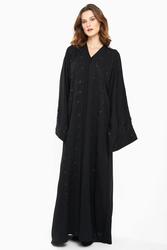 Nukhbaa Embelished Leaf Textured Abaya with Hijab, Black, Large