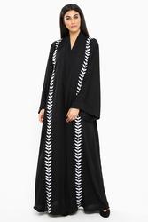 Nukbhaa Silver Leaf Embroidered Abaya with Hijab, Black, XXS