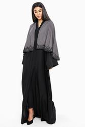 Nukbhaa Cape Style Leaf Embroidered Abaya with Hijab, Black, XXS