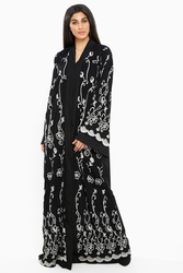 Nukbhaa Silver Floral Embroidered Abaya with Hijab, Black, Large