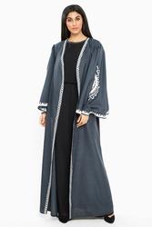 Nukbhaa Coat Style Bell Sleeve Embroidered Abaya with Hijab, Grey, XS
