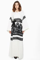 Nukhbaa Cross Knit Lace Abaya with Hijab, White, Large