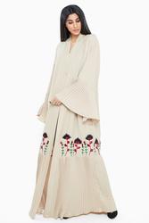 Nukbhaa Bell Sleeve Floral Embroidered Abaya with Hijab, Mediumulticolour, 4XL
