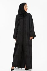 Nukhbaa Lace Abaya with Hijab, Black, XS