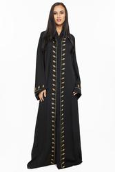 Nukhbaa Leaf Embelishments Gold Sequined and Beaded Abaya with Hijab, Black, 2XL