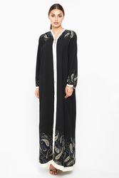 Nukhbaa Scattered Floral Abaya with Hijab, Black, XXS