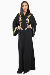 Nukhbaa Floral Embelished Gold Sequined and Beaded Abaya with Hijab, Black, XS