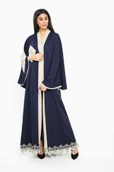 Nukbhaa Embroidered Abaya with Hijab, Navy Blue, Small