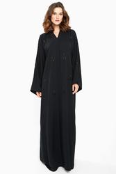 Nukhbaa Embelished Stones and Beaded Abaya with Hijab, Black, XXS