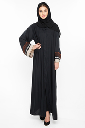 Nukbhaa Moroccan Style Square Embellished Striped Abaya with Hijab, Black, XXS