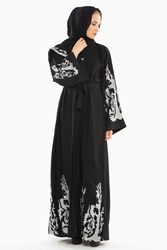 Nukbhaa Silver Embroidered Abaya with Hijab, Black, XS