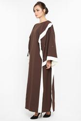 Nukhbaa Pearl Embroidered Abaya with Hijab, Brown, Small