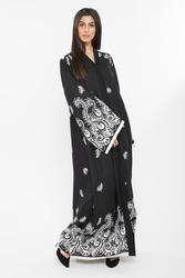 Nukbhaa Leaf Print Abaya with Hijab, Mediumulticolour, XS