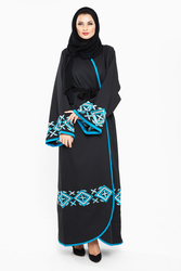 Nukhbaa Wrap Style Floral Embroidered Abaya with Hijab, Mediumulticolour, XS