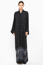 Nukhbaa Scattered Floral Abaya with Hijab, Black, Large