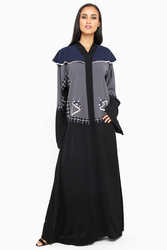 Nukhbaa Cape Style Embroidered Abaya with Hijab, Black, 4XL