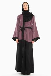 Nukbhaa Pearl Embroidered Abaya with Hijab, Mediumulticolour, Small