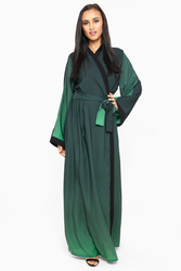 Nukhbaa Wrap Style Belted Abaya with Hijab, Green, XS