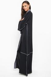 Nukhbaa Satin Striped Abaya with Hijab, Black, 4XL