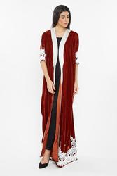 Nukbhaa Wrap Style Velvet Crochet Lace Silver Lining Abaya with Hijab, Dark Brown, Medium