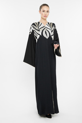 Nukbhaa Silver Leaf Embroidered Abaya with Hijab, Black, Small