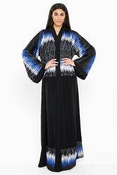 Nukbhaa Wavy Print Abaya with Hijab, Black, XXS