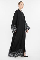 Nukhbaa Silver Embroidered Abaya with Hijab, Black, XL