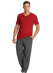 Jockey Men's 24X7 Jersey Pants Small, Charcoal Melange/Shanghai Red