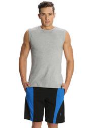 Jockey Men's Sports Knit Shorts Small, Black/Neon Blue