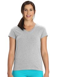 Jockey Ladies 24X7 Short Sleeve V-Neck T-Shirt for Women, Extra Large, Light Grey Melange