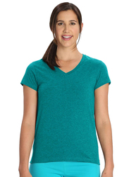 Jockey Ladies 24X7 Short Sleeve V-Neck T-Shirt for Women, Extra Large, Teal Melange